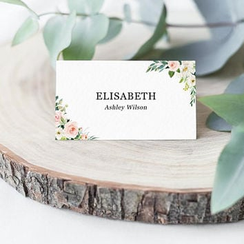 Printable place cards template wedding, baby shower, Table place cards, Wedding table cards, Table name cards template PDF, Flowers greenery