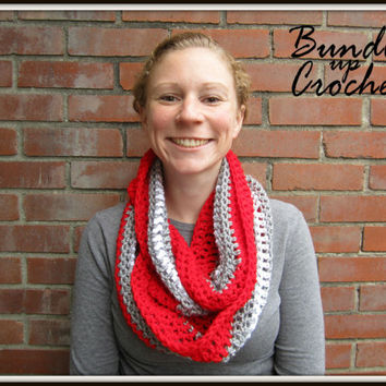 OSU Infinity Scarf Warm Accessory for Fall Scarlet Gray White Christmas Gift Ohio State Buckeyes OSU Winter Gear