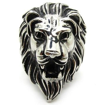 Size 8-13 Rings For Man Jewelry Punk Biker 316L Stainless Steel Gothic Men's/Boys Silver Power Lion King Ring
