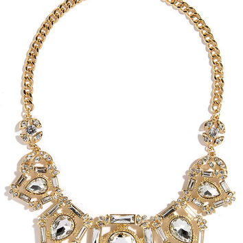 Tear Up Gold Rhinestone Statement Necklace
