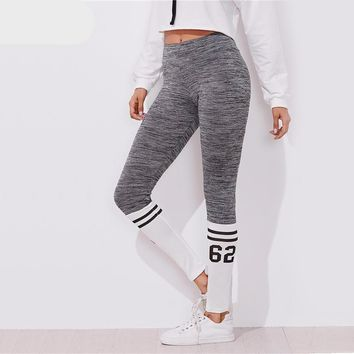 Varsity Print Space Dye Leggings Color Block Leggings Grey for Women