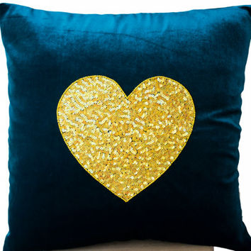 Teal Heart Pillow- Teal velvet Pillows -Velvet Pillows - Decorative cushion cover- Yelow Teal Throw pillow - gift - 18x18 - Couch pillows
