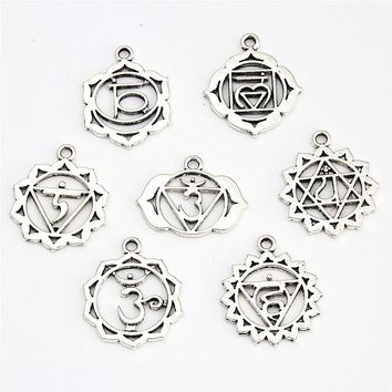7pcs Antique Silver 7 Chakra Charms Mandala Pendant Yoga OM Buddhist Metal For Jewelry Making Supplies