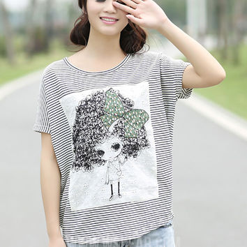 Cartoon Print Striped T-shirt
