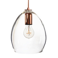 Hand Blown Clear Glass Pendant Light- Copper Cord