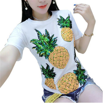 New  Women Summer T Shirt Fashion T-shirts Star Soldier Shiny Sequined Tops Plus Size Female Short Sleeve t shirts 72609 GS
