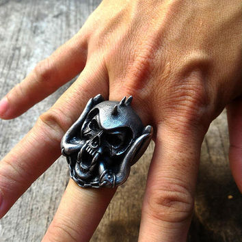 Motorhead - warpig skull ring, handmade punk rock and roll pewter ring