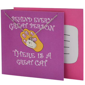 Tessa Cat Pendant Necklace, Funny Birthday Cards, Gifts for Cat Lovers