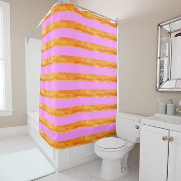 Pink and rustic copper colored stripes shower curtain
