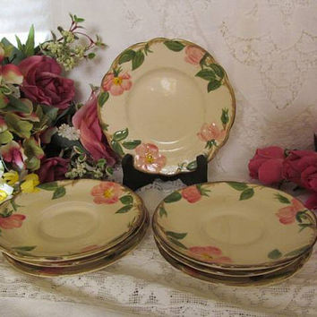 Vintage Franciscan China Saucers Bread Plate Desert Rose 7 Piece