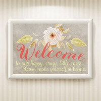 Printable welcome sign, front door poster, welcome to our home, instant download, gallery wall , french country decor, floral wall art