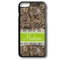 Green Apple Lace Camo Monogram iPhone 5S 5C 6/6S and Galaxy Custom Personalized Case Cover