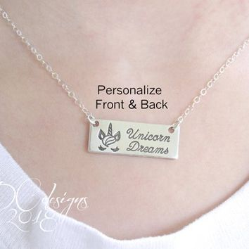 Unicorn Necklace, Unicorn Jewelry, Unicorn Birthday, Sterling Silver Bar Necklace, Custom Necklace, Gifts for Her, Engraved Necklace
