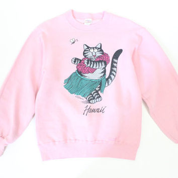 hella 90s.........Hawaii Kitty Cat pastel pink Seapunk club kid KAWAII Sweater top