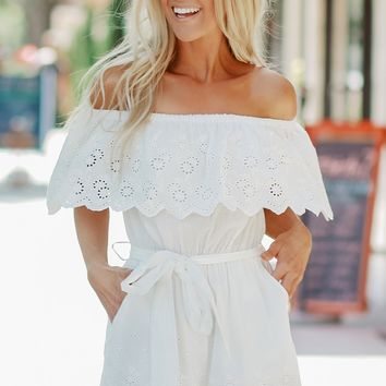 Off The Shoulder Eyelet Romper Off White