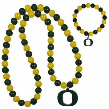 Oregon Ducks Fan Bead Necklace and Bracelet Set
