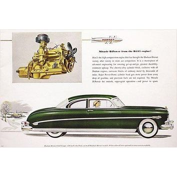 1952 HUDSON HORNET and its standard H-145 engine VINTAGE CAR AD poster 24X36