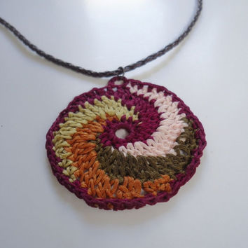 Handmade crochet necklace, multicolor thread necklace, crochet jewelry, spiral necklace, crochet pendant, womens accessories, fiber necklace