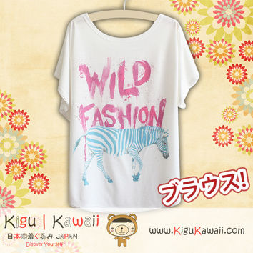 New Wild Zebra Fashionable Loose and High Quality Spring and Summer Tshirt Free Size KK522