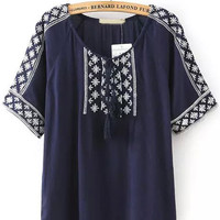 Navy Blue Tassel Tie Round Neckline Tribal Embroidered Blouse