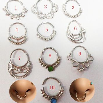 1pcs 16g silver Indian Tribal Septum Ring Jewelry Real Piercing Pierced Septum ring body piercing jewelry