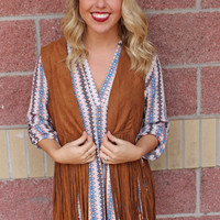 Suede vest with long fringe-more colors