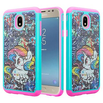 Samsung Galaxy J7 V 2nd Gen, J7 2018, J7 Star, J7 Refine, J7 Aero, J7 Aura, J7 Eon, J7 Pro SM-J730GM/DS, J7 Top, J7 Crown Case, Slim Crystal Rhinestone Dual Layer [Shock Resistant] Protective Cover - Rainbow Unicorn