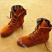 Comfortable Colorful Lace-up Flat Ankle Boots- Shoespie.com