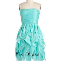 New arrival Strapless sleeveless mini chiffon pleated draped short Prom/Evening/Party/Homecoming/Bridesmaid/Cocktail/Formal Dress