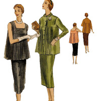 1950s Pleated Evening Party Maternity Top Blouse Tunic Vogue 8393 Vintage Sewing Pattern 2-Piece Dress & Skirt Square Neckline Bust 34 UNCUT