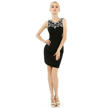 Sexy Black Beads Satin Scoop Neck Short Prom Dresses Off The Shoulder Homecoming Party Gowns