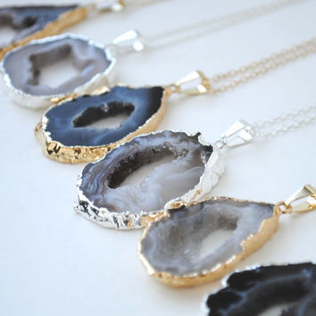 Agate Slice Necklace, Agate Slice Pendant Necklace, Agate Geode Necklace, Druzy Slice Necklace