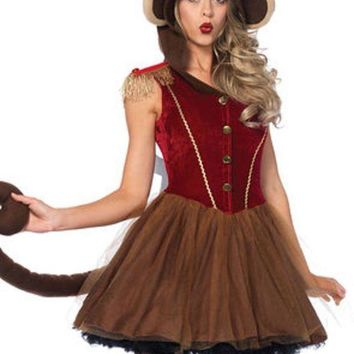 Wind Up Monkeypetticoat Dress W/long Monkey Tail Attached Turn Key In Brown
