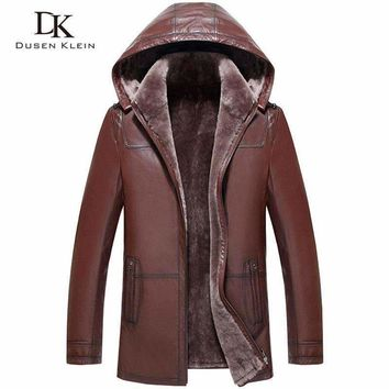 Wool Leather Hooded Shearling Jacket Men Dusen Klein Brand Genuine Sheepskin Wool Liner Men Luxury Winter Coats 71A1803