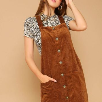 Sleeveless Corduroy Overall Dress