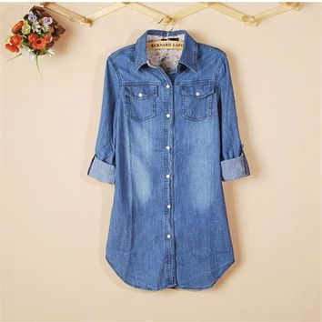 Ladies Special ! New Fashion 1PC New Women Denim Shirt Plus Size Cotton Long Sleeve Casual Vintage Tops Shirt for Girl