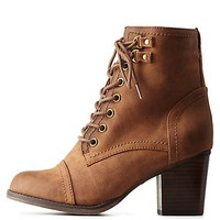 MADDEN GIRL LACE-UP CHUNKY HEEL BOOTIES