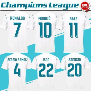 2018 Champions League Real Madrid home white Soccer Jersey 17/18 CR7 RONALDO Soccer Sh