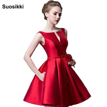Suosikki 2016 New fashion fuchsia vestido de noiva short design Champange color lace up bridal party cocktail dress