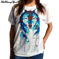 3D T Shirt Women Cotton Tops Tee Wolf Skull Printed Swag Short Sleeve T-shirt Plus Size Fashion Sport Shirt Camisetas Camisas