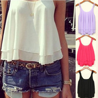 Charming 4 Colors Women Summer Clothing Bilayer Sleeveless Shirt Chiffon Loose Vest Tank Tops Blouse Women Crop Tops