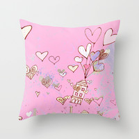 pink happiness Throw Pillow by Marianna Tankelevich