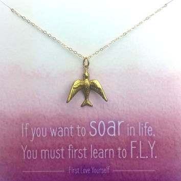 If you want to SOAR in life, You must first learn to F.L.Y. - Simply Charmed Line - Dolphin Necklace - Mother's Day Gift