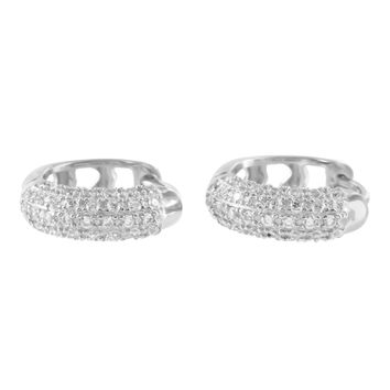 Mens Hoop Style 925 Silver Lab Diamond White Finish Earrings