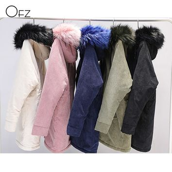 New 2017 Winter Corduroy Thick Big Fur Collar Jackets Long Loose Ladies Basic Coats Wide Waisted Zippers Pockets Women Parkas