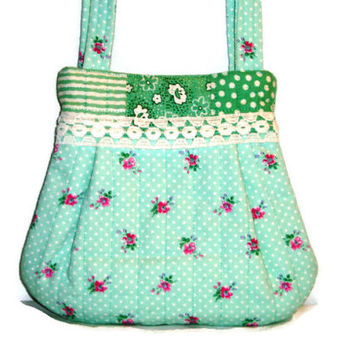 Small Green and Pink Floral Quilted Purse or Handbag for Young Girls, Upcycled-Repurposed Fabric Bag