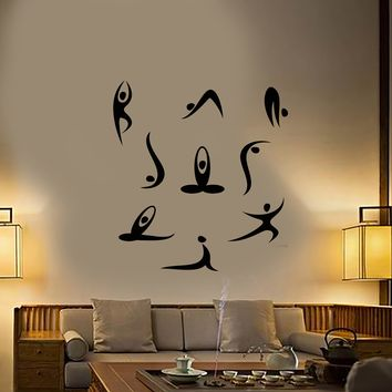 Vinyl Wall Decal Yoga Meditation Studio Room Cartoon People Stickers (2471ig)