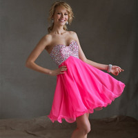New Light Pink Homecoming Dresses Short Sweet 16 Chiffon A-Line Cocktail Dresses Sweetheart Beading Semi Formal Robe de Cocktail