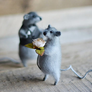 Collectable pair of mice figurines ready to ship mr and mrs family gift anniversary wedding gift great wedding gift knitted mouse stuffed
