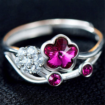 Fashion Casual Jewelry Unique Womens Silver Ring with Crystal Adjustment Best Gift One Size Rings-79